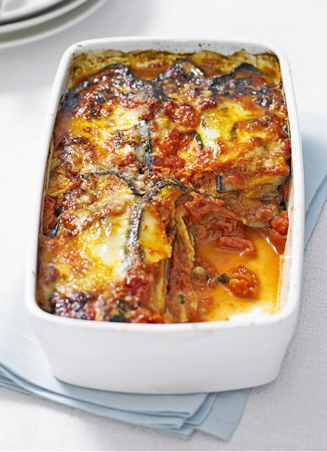 Melanzane parmigiana - This delicious, cheesy vegetarian bake with aubergine is ideal for a family meal midweek. Aubergine is a great ingredient to use because of it's naturally meaty texture.
