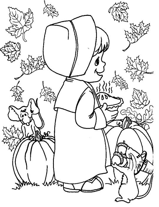 little girl pilgrim color sheet Thanksgiving coloring