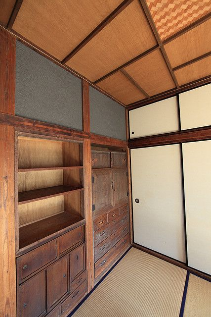 Japanese traditional house. Futons are put away each day behind the sliding closet doors.