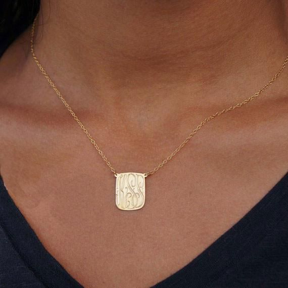 Gold Dog Tag Initial Necklace Monogram Necklace Gold Monogram Initial Necklace Monogram Necklace