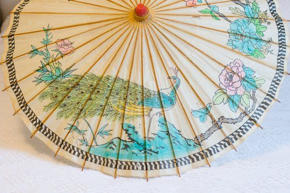 Paper Parasol Rice Umbrella Sunshade Oriental Chinese Pea Hand Painted Birds Flowers Chinoiserie Photo Prop