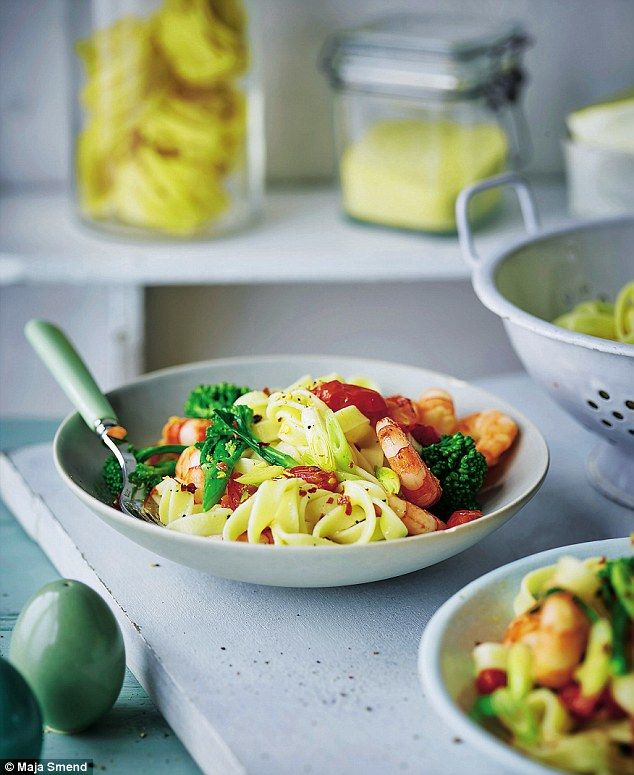 Prawn and Chili Tagliatelle - get recipe here: http://www.dailymail.co.uk/home/you/article-3622066/Joe-Wicks-Lean-15-Prawn-chilli-tagliatelle.html