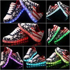Leuchtende LED Schuhe / Sneaker mit Farbwechsel im USA-Flaggen Design - sofort lieferbar - http://on-line-kaufen.de/ch-handel/leuchtende-led-schuhe-sneaker-mit-farbwechsel-im