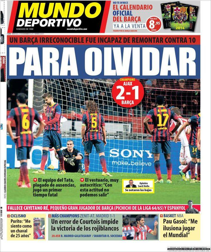 Los Titulares y Portadas de Noticias Destacadas Españolas del 27 de Noviembre de 2013 del Diario Mundo Deportivo ¿Que le pareció esta Portada de este Diario Español?