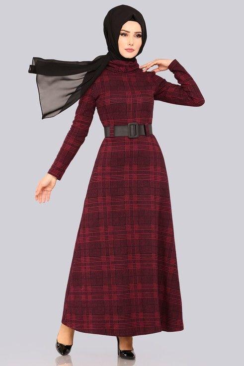 56e28a8735dfa Modaselvim ELBİSE Boğazlı Kışlık Elbise 5488MP186 Bordo | Elbise in ...