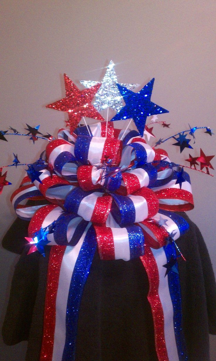 Blue and purple christmas decorations - Exterior Patriotic Decorations With A Ribbon Decorations On Hats And Stars The Occasional Usage Of Patriotic