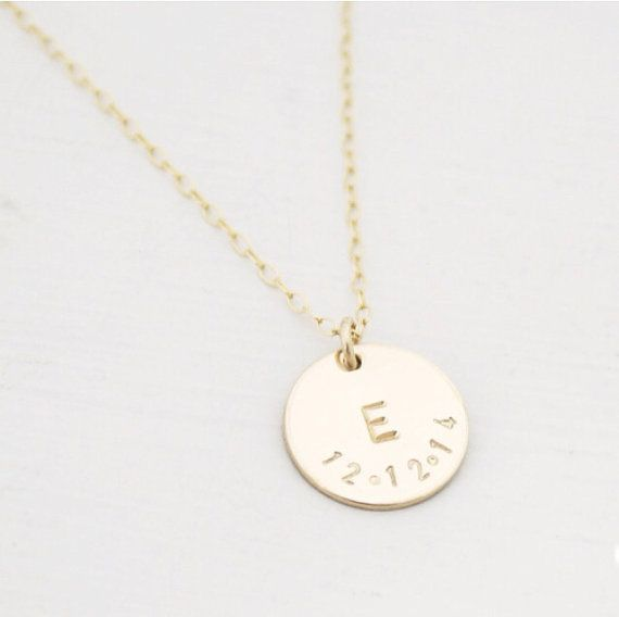 14k Gold Filled Initial and Date Necklace by edenzoe on Etsy