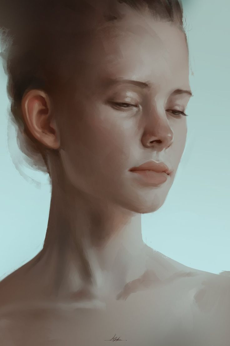 """""""Portrait Study"""" - Aaron Griffin {figurative art female head unfinished woman face digital painting #loveart}"""