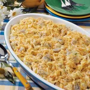 Sausage Noodle Casserole (Best of Country Casseroles)-halve the recipe and use cheddar cheese