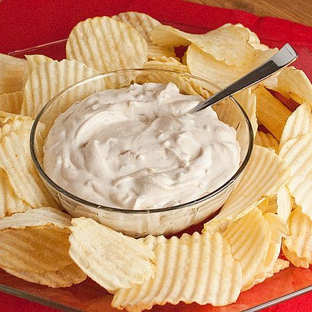 Famous Lipton California Dip: 1 envelope Lipton Recipe Secrets Onion Soup Mix, 1 container (16 oz.) regular or light sour cream. 1. In medium bowl, blend all ingredients; chill at least 2 hours.Serve with your favorite dippers. ( I love to serve it with potato chips)