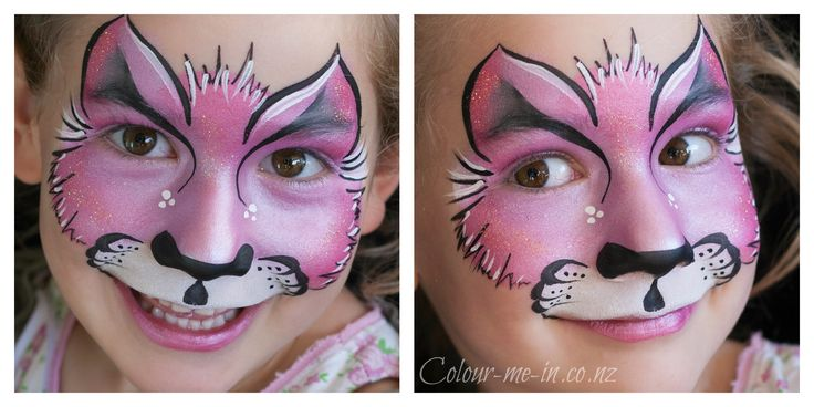 Pink Cat, face painted by Stephanie, www.colour-me-in.co.nz. A simple kitty can be a really effective face paint, especially when using pearl tones.