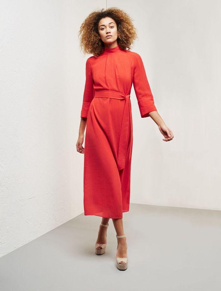 Funnel Neck Midi Dress - Red