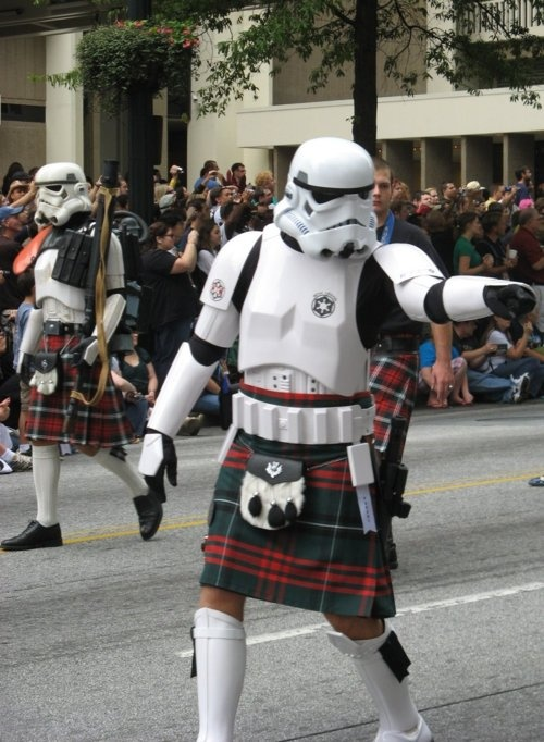 Stormtroopers in kilts - only way to make this more awesome is if it were rebels; think Han Solo: shirt, vest and KILT!!