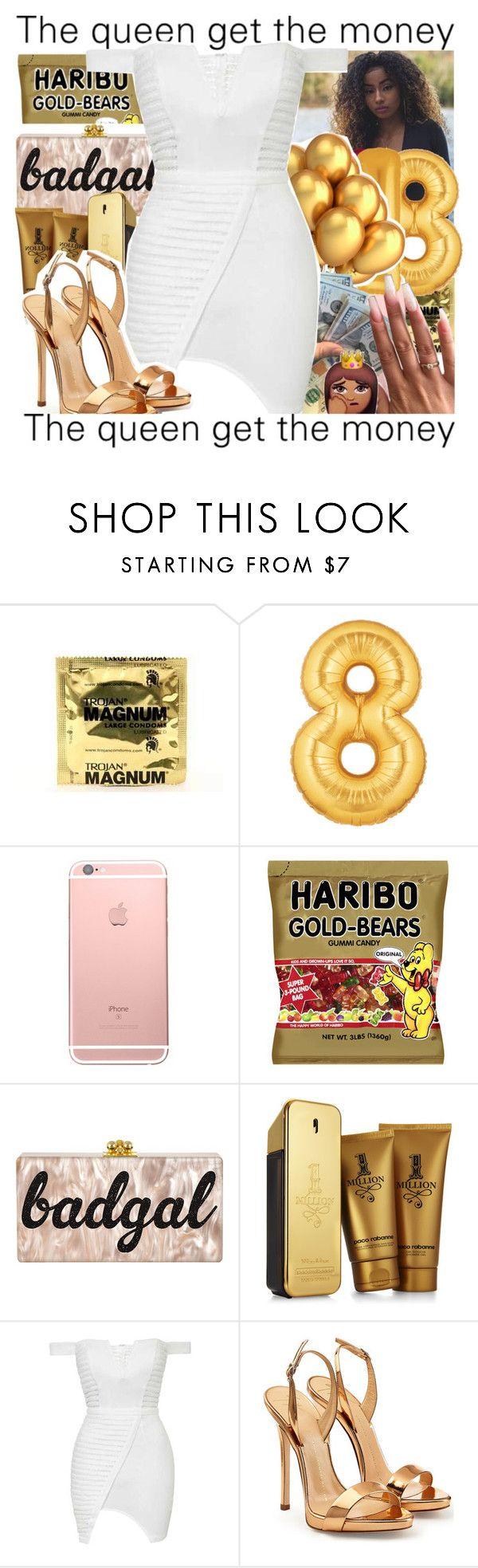"""""""DJODJE"""" by biapearl ❤ liked on Polyvore featuring Paco Rabanne, Topshop, Giuseppe Zanotti, 18, goldandwhite and Mozambique"""