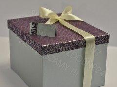 Ekskluzywne pudełko na koperty, fioletowe/srebrne