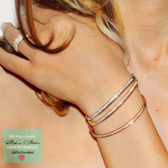 Tennis bracletes OUT, Diamond Bangle IN ! Classi cool look!     Silly Shiny's Diamond Bangle 14K