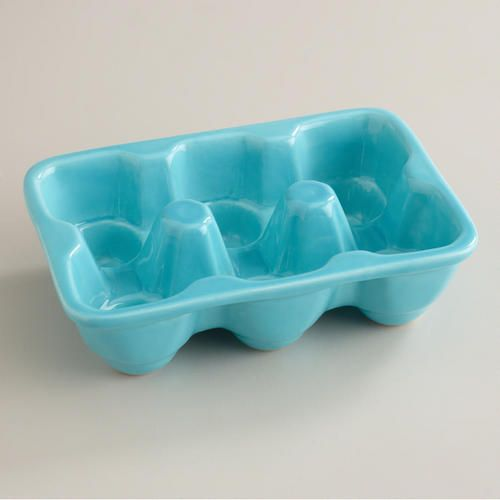 Aqua Ceramic Half Egg Crate at Cost Plus World Market >> #WorldMarket Cooking with Color