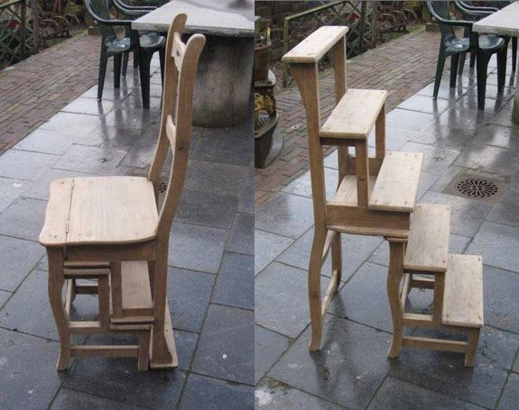 chair step ladder, perfect for libraries and high kitchen shelves