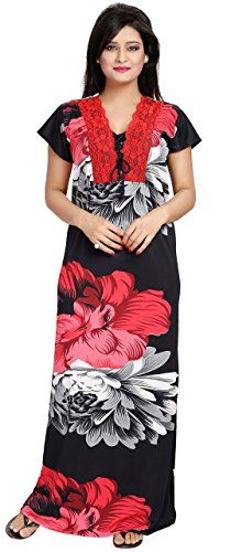 Noty Women's Satin Nighty Floral Print (Red-Black),Free Size - http://pickeyshop.com/2017/09/27/noty-womens-satin-nighty-floral-print-red-blackfree-size/