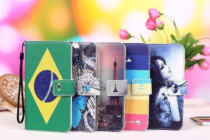 12 colors Cartoon Printing Flip PU Leather Phone Wallet Case For Vodafone Smart Prime 7 VF600 Mobile Phone case cover Tracking