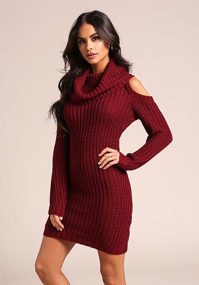 0f89ea2ad93 Burgundy Thick Knit Cold Shoulder Sweater Dress - New