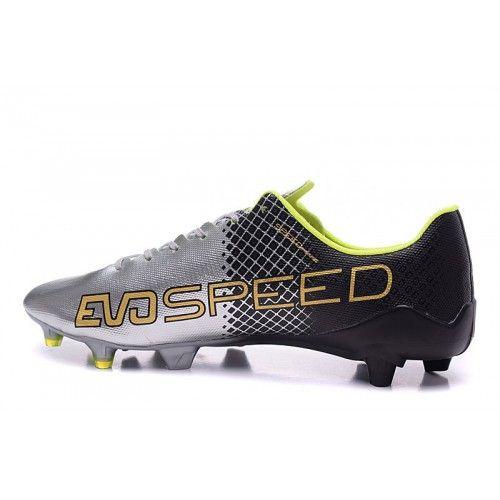 Soldes Puma evoSPEED 1.4 SL FG Argent Vert Peche Chaussures De Foot