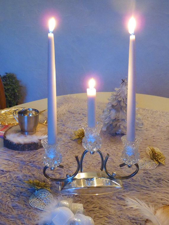 Chandelier candelabre metal argenté et cristal 3 par MadeinFlo
