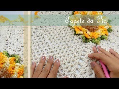 Passo a Passo Jogo de Banheiro Mega Girassol Barroco Tapete da pia por JNY Crochê - YouTube