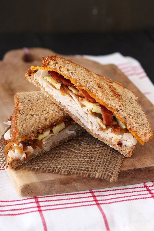 Your average turkey sandwich is taken up a notch with 12-grain bread, cheddar cheese, bacon, apple, and caramelized onion.