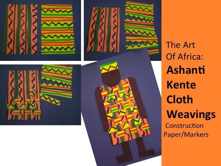 "2- 6"" x 9"" construction paper per child Make a vertical line pattern on one/ A horizontal line pattern on the other. Markers/scissors/glue Brown construction paper Use the book: KENTE COLORS!"