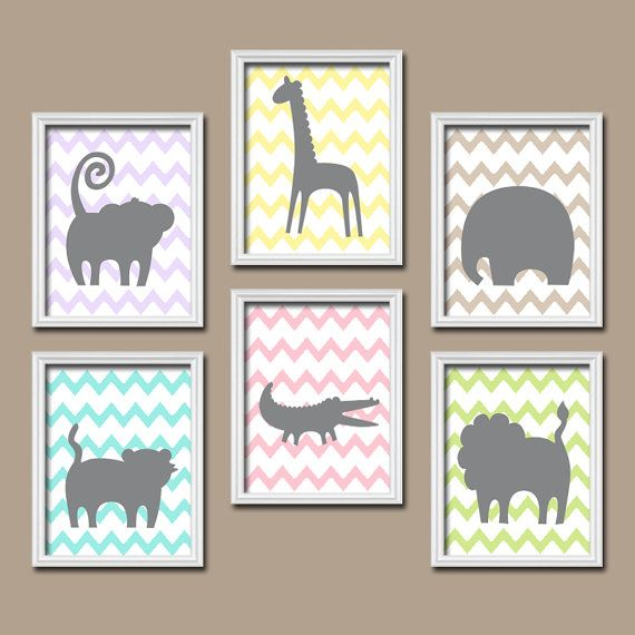 GIRL Jungle Wall Art, CANVAS or Prints Safari Animals, Jungle Nursery, ZOO Baby Girl Nursery, Bedroom Pictures, Nursery Decor Set of 6