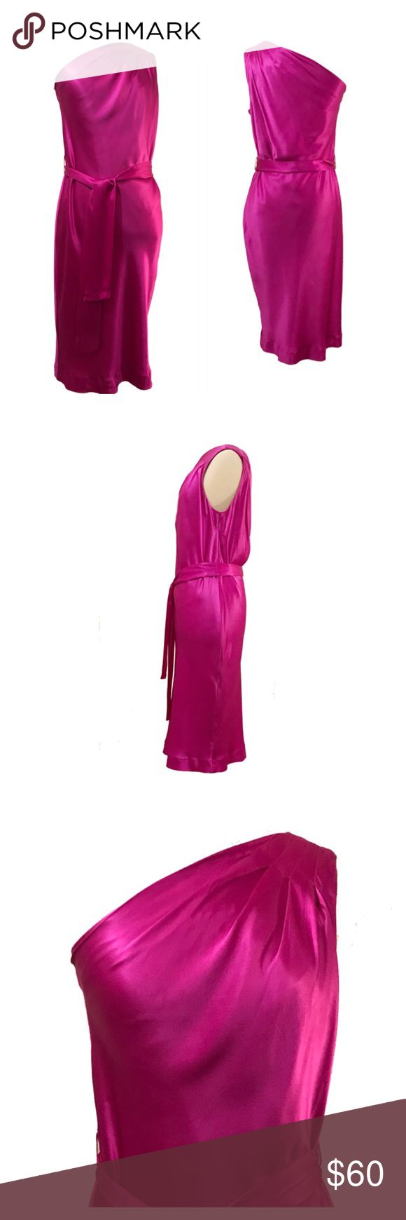 "Banana Republic silk one shoulder dress 2 Banana Republic hot hot pink/ magenta silk one shoulder dress 2 in excellent condition. Very lightweight and soft.  Underarm to underarm: 16"" Waist:  28"" Length: 40"" Measurements taken flat Banana Republic Dresses Midi"