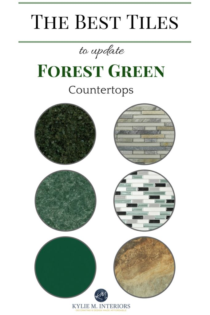 The best tile ideas to update forest green laminate, granite or quartz countertops in bathroom or kitchen. Kylie M Interiors E-design.jpg