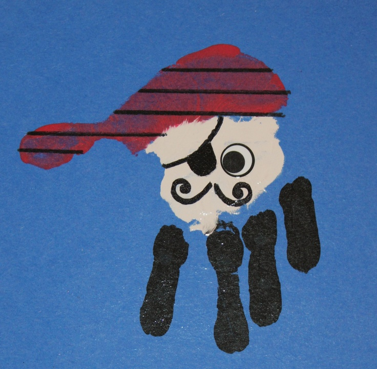 Our handprint pirates! We made these for our school-wide treasure hunt!