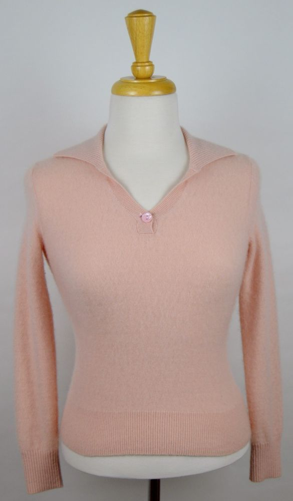 Prive' Women's Cashmere Salmon Pink V-Neck Collar Long Sleeve Sweater Sz X-Small #PriveCashmere #Sweater