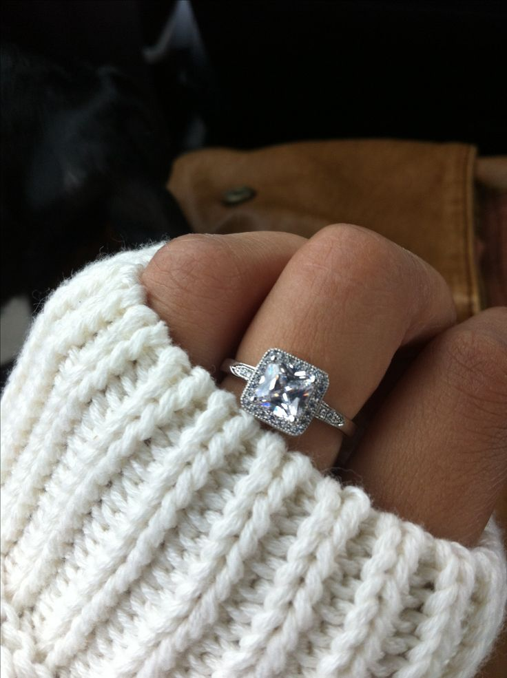 Princess cut ring Engagement Diamond Pretty Fashion