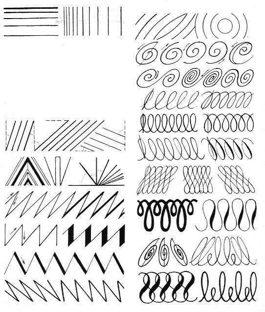 Lijnsoort: Er zijn verschillende soorten lijnen, zoals dik, dun, grillig, vloeiend, krullend, gestippeld, zigzag enzovoort.