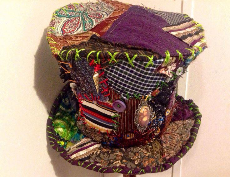 mad hatter top hat, BURNING MAN, patchwork hat, alice in wonderland, vintage, Renaissance, magic hat by MisfitCords on Etsy https://www.etsy.com/uk/listing/255165632/mad-hatter-top-hat-burning-man-patchwork