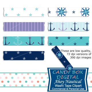 Our Ahoy digital washi tape are so salty you can almost smell the sea breeze. Use them to embellish your vacation pictures and mementos. Great for scrapbooks, journals, blogs and websites!