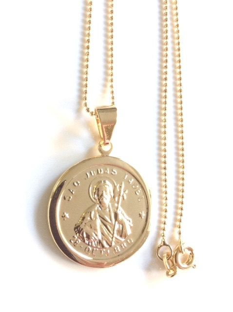 St. Jude Medal Necklace, dainty gold filled chain, St. Jude, Catholic gifts, Religious Medals, Catholic Jewelry, San Judas