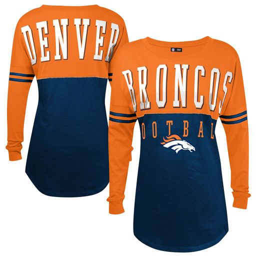 5th & Ocean by New Era Denver Broncos Women's Navy Baby Jersey Spirit Top Long Sleeve T-Shirt