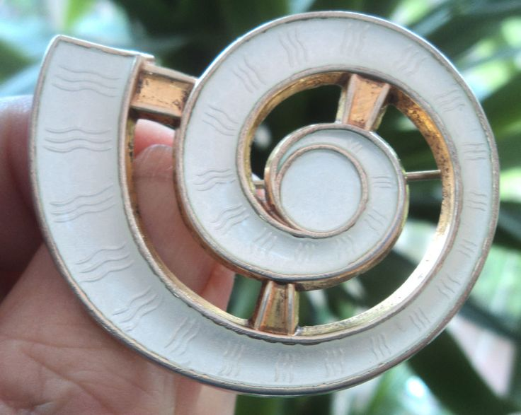 Norwegian Silver & White Enamel Abstract Brooch  -  Jacob Tostrup Norway