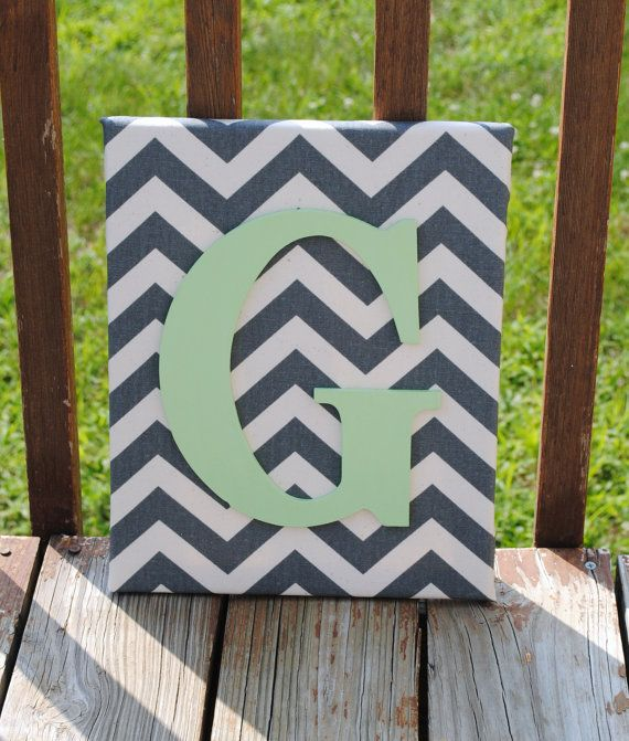 "Personalized Grey Chevron With Mint Green Initial Canvas Wall Art 11""x14"" Customized Boys And Girls Room Decor, Photo Prop, Home Decoration"