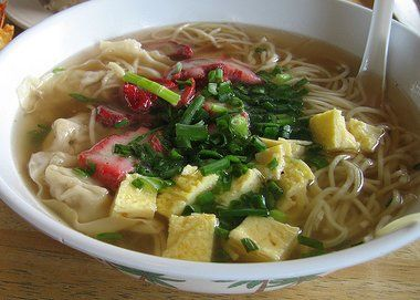 Hawaiian Saimin: I like to make recipes from places I've visited to give our Seniors a taste of my travels. The saimin from Anna Miller's on Oahu is the best!
