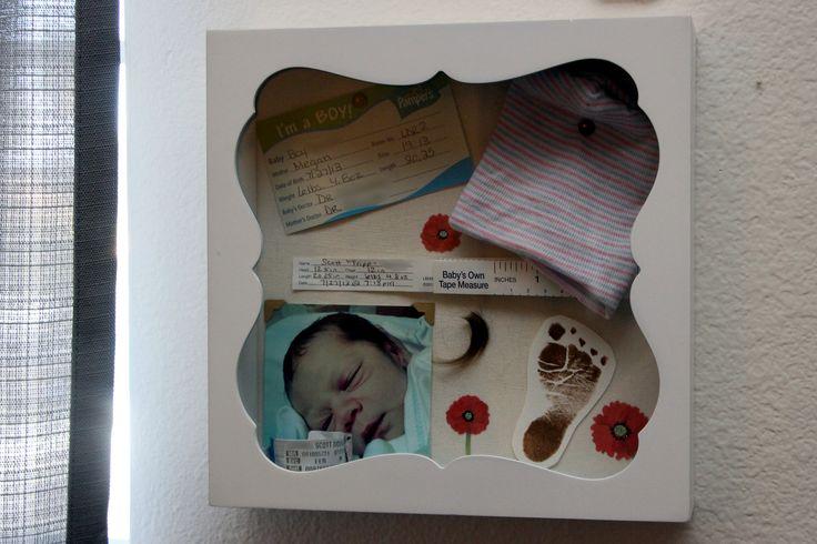 Newborn Shadow Box - hospital bassinet label, hospital hat, tape measure, photo, armband, lock of hair and footprint