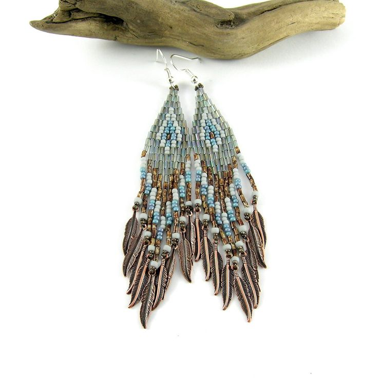 Picasso brown and turquoise Native American beaded long earrings - dangle earrings - beadwork jewelry - beadwork earrings - Ice and Salt by Taurieldesign on Etsy https://www.etsy.com/listing/206947088/picasso-brown-and-turquoise-native