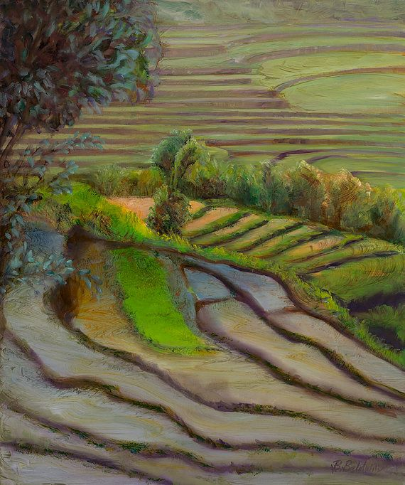 """Oil Painting """"Rice Fields"""" Oil painting inspired by the everyday beauty of life in Bali, Indonesia. on Etsy, $995.00"""