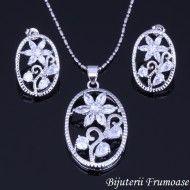 Bijuterii White Flowers Crystal placate cu aur 18k