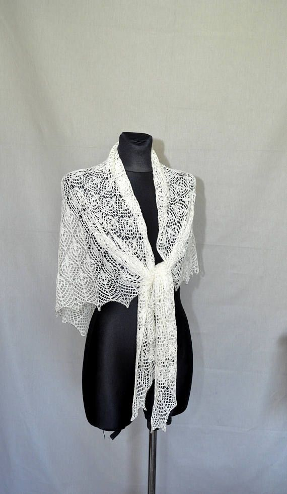 Wedding Lace Shawl Hand Knitted Lace Shawl Ecru Lace Shawl