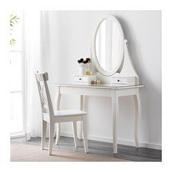 IKEA - HEMNES, Dressing table with mirror, , There's plenty of space for makeup and jewelry in the two small drawers and in the larger drawer hidden underneath the dressing table.You don't need to worry about stains, as the durable glass table top is easy to wipe clean.Safety film  reduces damage if glass is broken.